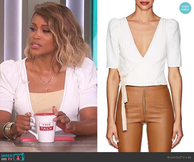 Slub-Weave Cotton-Blend Crop Top by Area worn by Eve on The Talk