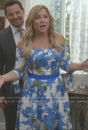 Arizona's white floral off shoulder dress on Grey's Anatomy
