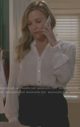 Arizona's white ruffled stand collar blouse on Grey's Anatomy