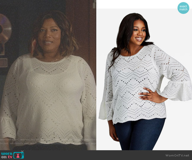 Bell Sleeve Zig-zag Cutout Sweater by Ashley Stewart worn by Queen Latifah on Star
