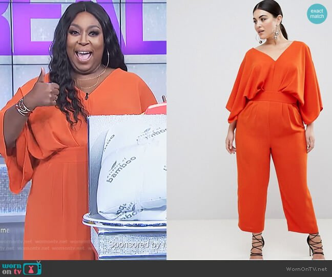 Jumpsuit With Kimono Sleeve And Peg Leg by Asos worn by Loni Love on The Real