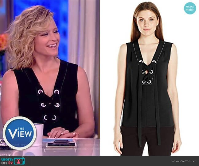Marcia Lace-up Tank by BCBGMAXAZRIA worn by Sara Haines  on The View