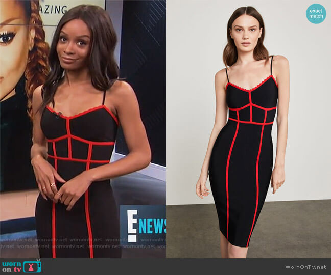 Sleeveless Contrast Fitted Dress by BCBGMAXAZRIA worn by Zuri Hall on E! News