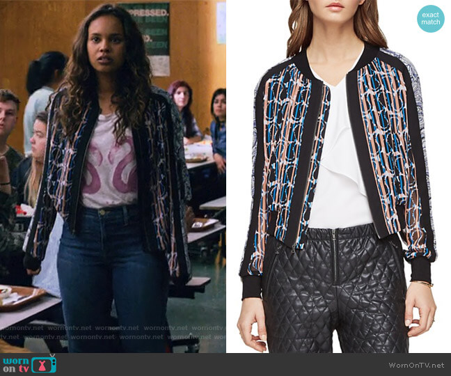 Harrison Jacket by BCBGMAXAZRIA worn by Jessica Davis (Alisha Boe) on 13 Reasons Why