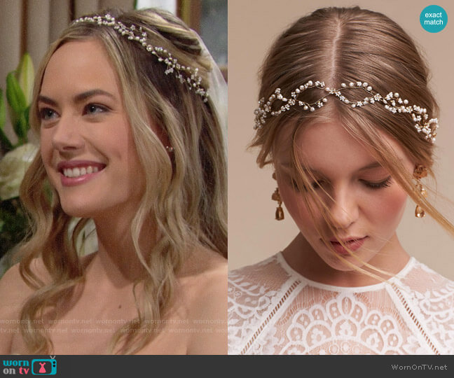 BHLDN Pearldrop Halo worn by Annika Noelle on The Bold & the Beautiful