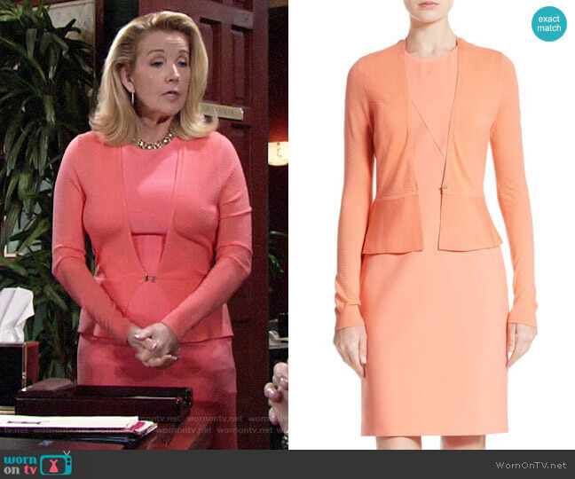 BOSS Demisana Dress and Feline Cardigan worn by Nikki Reed Newman (Melody Thomas-Scott) on The Young & the Restless