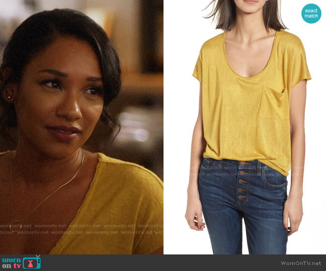 BP Slub Knit Tee worn by Iris West (Candice Patton) on The Flash