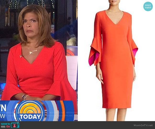 Contrast Bell Sleeve Dress by Badgley Mischka worn by Hoda Kotb on Today
