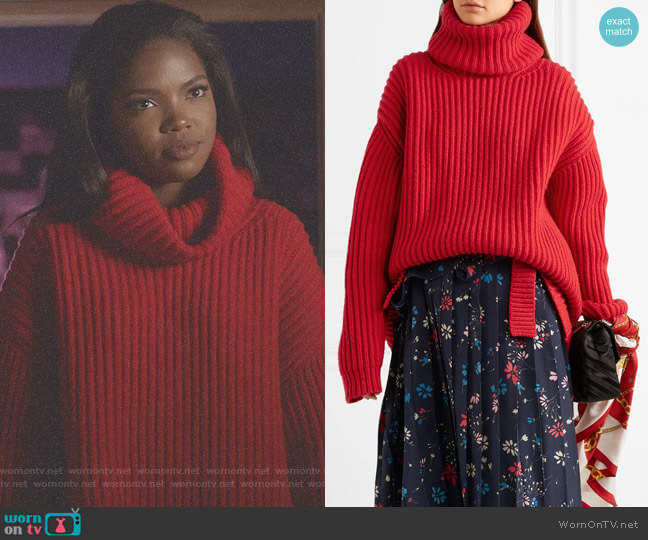 Oversized Ribbed Wool Turtleneck Sweater by Balenciaga worn by Ryan Destiny on Star