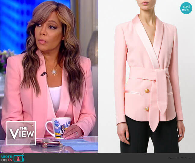 Balmain Belted double-breasted crepe blazer worn by Sunny Hostin  on The View