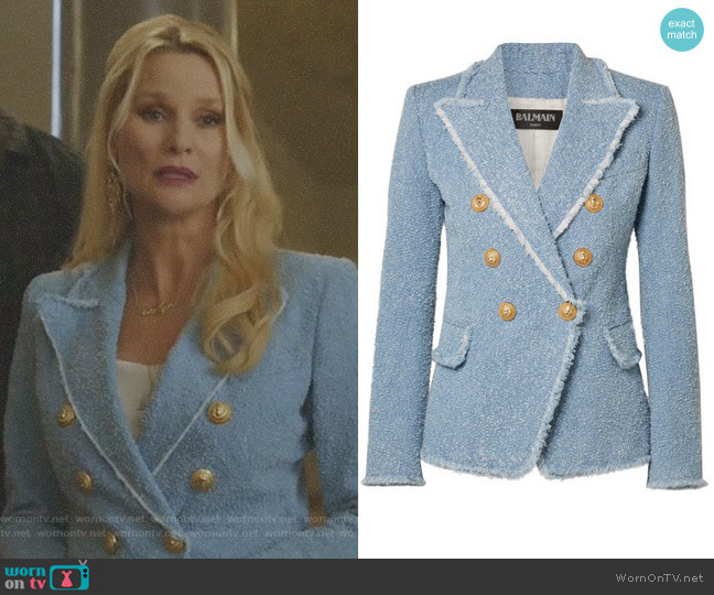 Double-Breasted Bouclé-Tweed blazer by Balmain worn by Alexis Carrington (Elaine Hendrix) on Dynasty