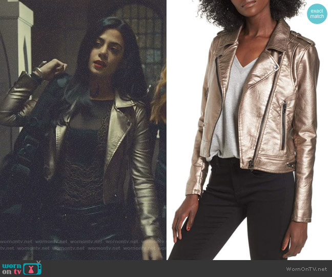 Metallic Faux Leather Moto Jacket by Blank NYC worn by Emeraude Toubia  on Shadowhunters