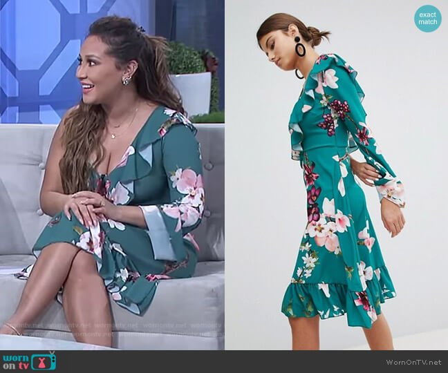 One Shoulder Floral Midi Dress by Boohoo at Asos worn by Adrienne Houghton on The Real