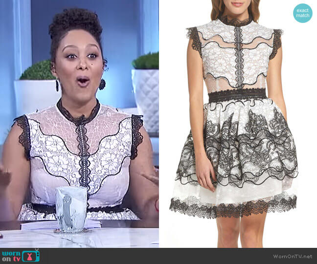 Orchid Cap Sleeve Lace Dress by Bronx and Banco worn by Tamera Mowry on The Real