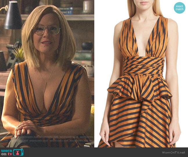 Paros Striped Top by Caroline Constas worn by Rachael Harris on Lucifer