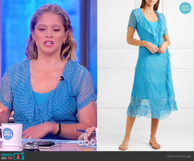 Kimi printed silk-crepon wrap midi dress by Cloe Cassandro worn by Sara Haines  on The View