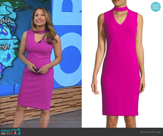 Sleeveless Choker Dress by Calvin Klein worn by Ginger Zee on Good Morning America