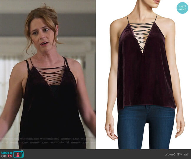 Camilla Velvet Camisole by Cami NYC worn by Jenna Fischer on Splitting Up Together
