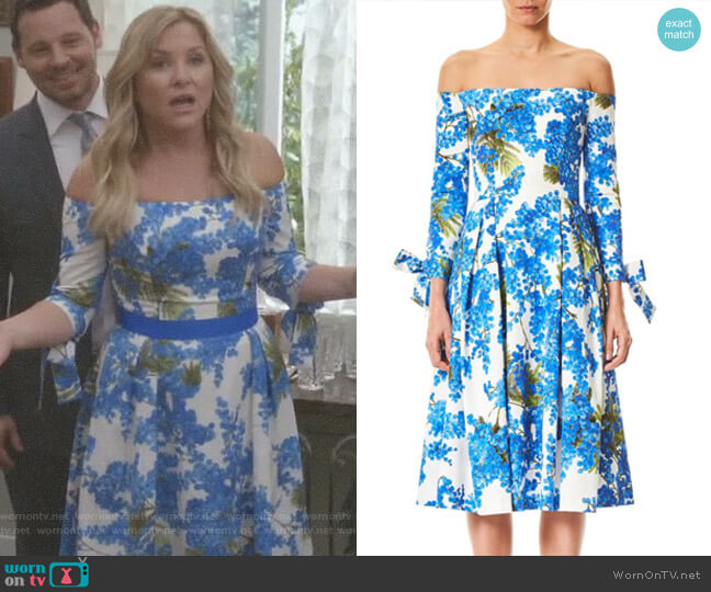 Off-The-Shoulder Floral Dress by Carolina Herrera worn by Arizona Robbins (Jessica Capshaw) on Greys Anatomy