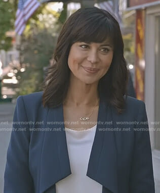 Cassie's navy draped jacket on Good Witch