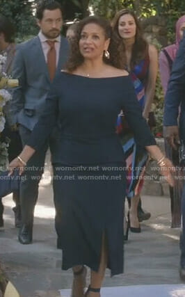 Catherine's navy peplum dress on Grey's Anatomy
