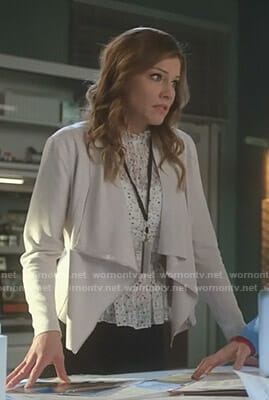 Charlotte's white star print top and draped jacket on Lucifer