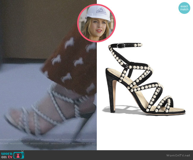 Crackled lambskin Sandals by Chanel worn by Fallon Carrington (Elizabeth Gillies) on Dynasty