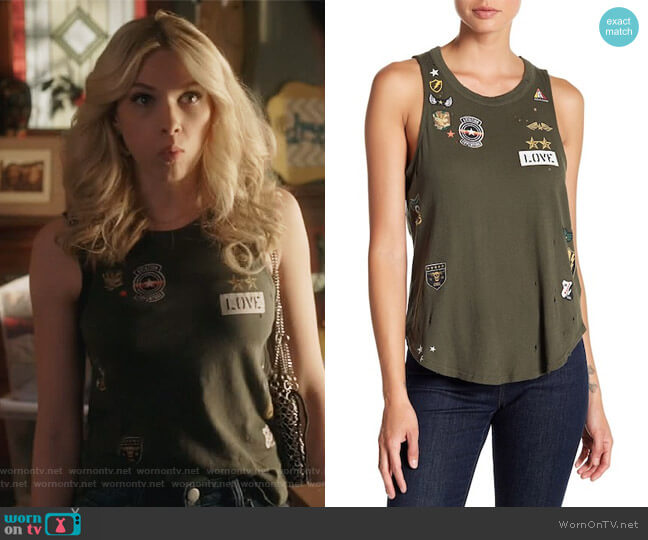Major Love Patch Distressed Tank by Chaser worn by Billy London (Claudia Lee) on Famous in Love