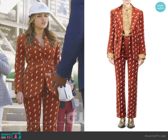 Horse Embroidered Velvet Riding Jacket and pants by Chloe worn by Fallon Carrington (Elizabeth Gillies) on Dynasty