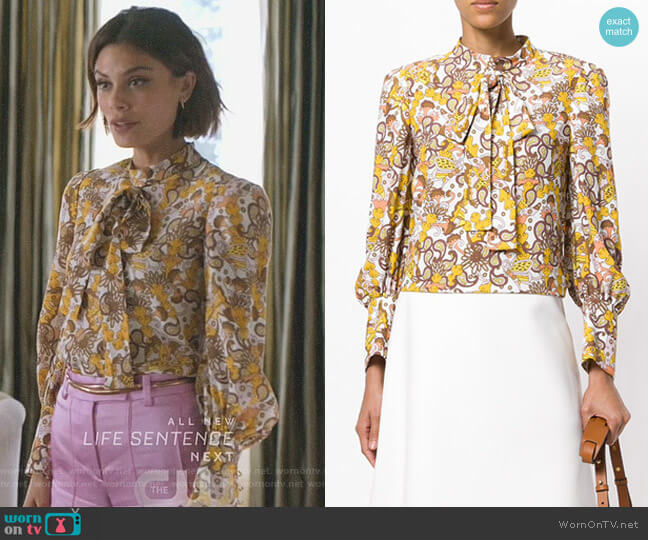 Floral Tie Neck Blouse by Chloe worn by Cristal Flores (Nathalie Kelley) on Dynasty