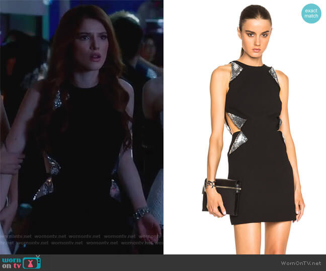 Cut Away Sequin Flap Dress by Christopher Kane worn by Bella Thorne on Famous in Love
