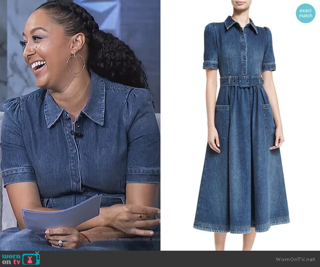 Belted Denim Midi Shirtdress by Co worn by Tamera Mowry  on The Real