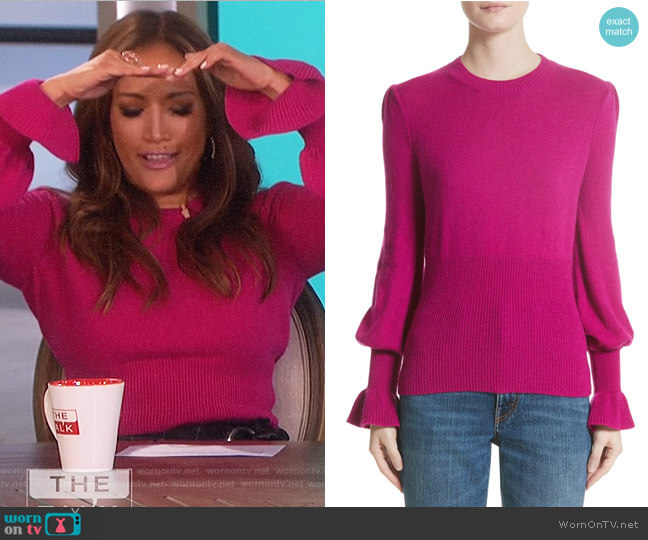 Flare Cuff Alpaca Blend Sweater by Co worn by Carrie Inaba on The Talk