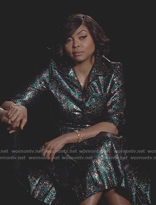 Cookie's metallic jacquard shirtdress on Empire