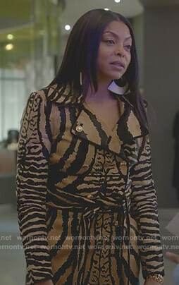 Cookie's animal print leather trench coat on Empire