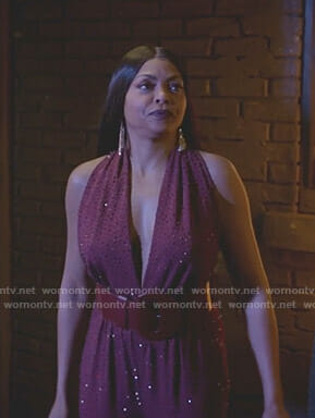 Cookie's burgundy embellished plunging top and pants on Empire