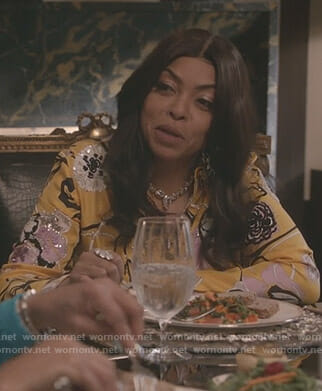 Cookie's yellow floral embellished blouse on Empire