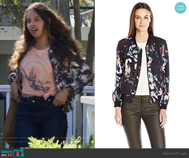 Cornucopia Drape Bomber Jacket by French Connection worn by Jessica Davis (Alisha Boe) on 13 Reasons Why