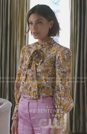 Cristal's paisley print tie neck blouse on Dynasty