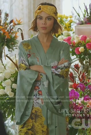 Cristal's green floral robe and yellow headband on Dynasty