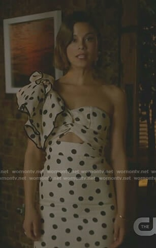 Cristal's polka dot one shoulder dress on Dynasty