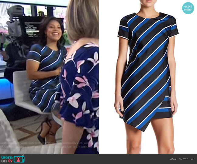 Abbey Stripe Asymmetrical Hem Shift Dress by Cynthia Steffe worn by Sheinelle Jones on Today