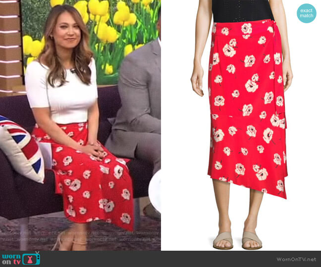 Floral Wrap Skirt by Derek Lam 10 Crosby worn by Ginger Zee  on Good Morning America