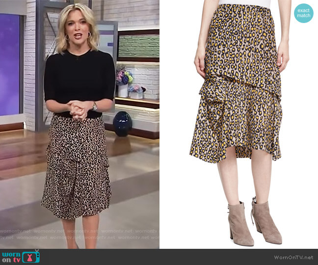 Tiered Leopard-Print Silk Midi Skirt by Derek Lam worn by Megyn Kelly on Today