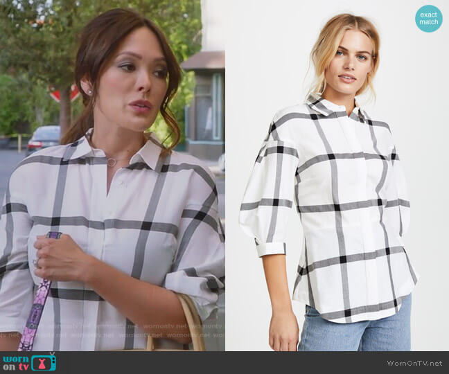Buttondown Shirt with Lace Up Back by Derek Lam 10 Crosby worn by Camille (Lindsay Price) on Splitting Up Together