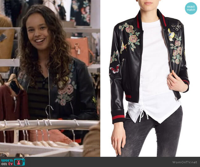 Patch and Print Detailed Faux Leather Bomber Jacket by Dex worn by Alisha Boe on 13 Reasons Why