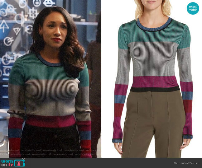 Diane von Furstenberg Cropped Plaited Pullover worn by Iris West (Candice Patton) on The Flash