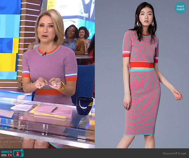 Short-Sleeve Cropped Crew Neck Sweater and Pencil Skirt by Diane von Furstenberg worn by Amy Robach on Good Morning America