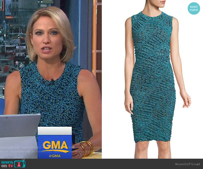 Sleeveless Ruched Mesh Dress by Diane von Furstenberg worn by Amy Robach on Good Morning America