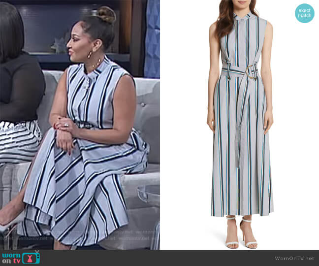Belted striped cotton midi dress by Diane von Furstenberg worn by Adrienne Houghton on The Real